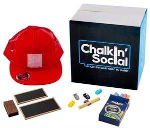 Kids Red Chalkboard Hat with included accessories
