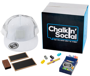 Kids White Chalkboard Hat with included accessories