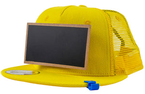 Kids Yellow Chalkboard Hat side view