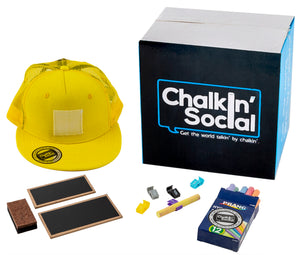 Kids Yellow Chalkboard Hat with included accessories