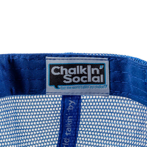 Chalkin' Social tag within PRIDE Outspoken Blue Chalkboard Hat