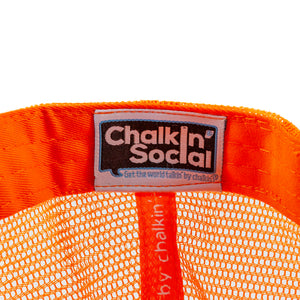 Chalkin' Social tag within PRIDE Outspoken Orange Chalkboard Hat