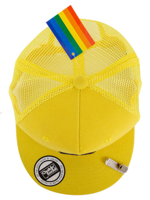 Top view of PRIDE Outspoken Yellow Chalkboard Hat