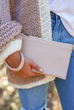 Blush Envelope Clutch - Light Beige