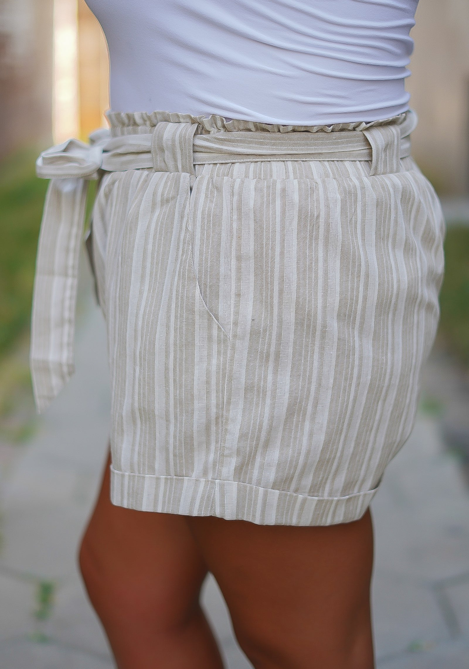 All Natural Striped Shorts - Taupe