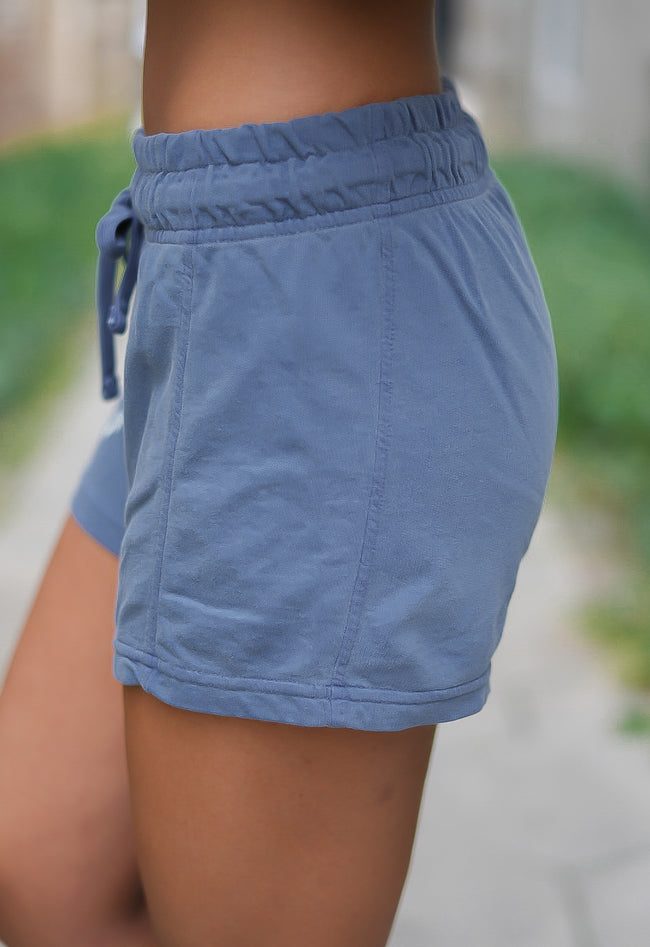 Rosie Daze Logo French Terry Shorts - Blue Jean