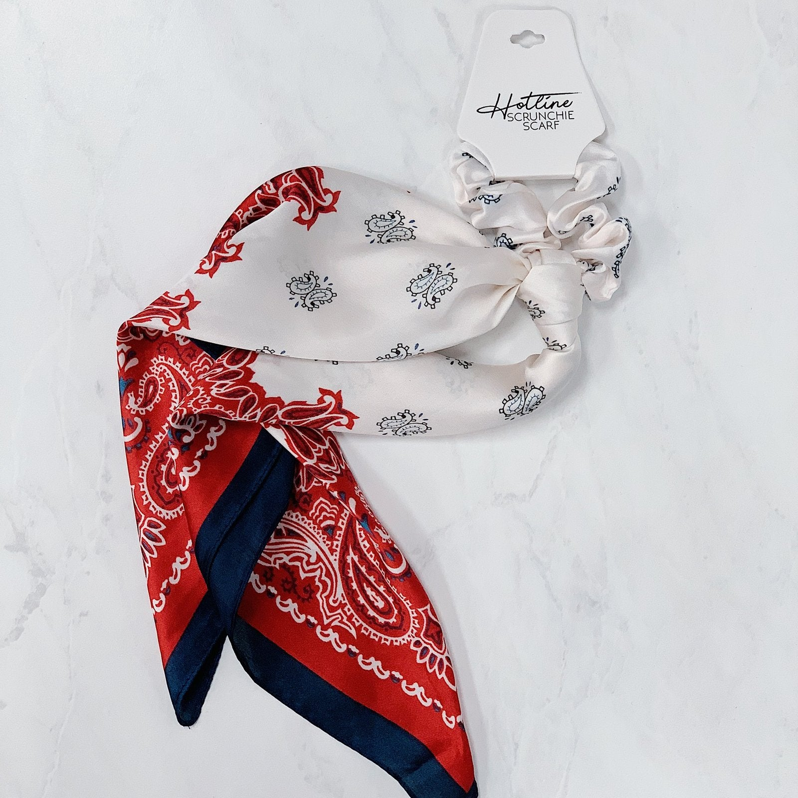 Red & Navy Paisley Scrunchie Scarf - Hotline Hairties