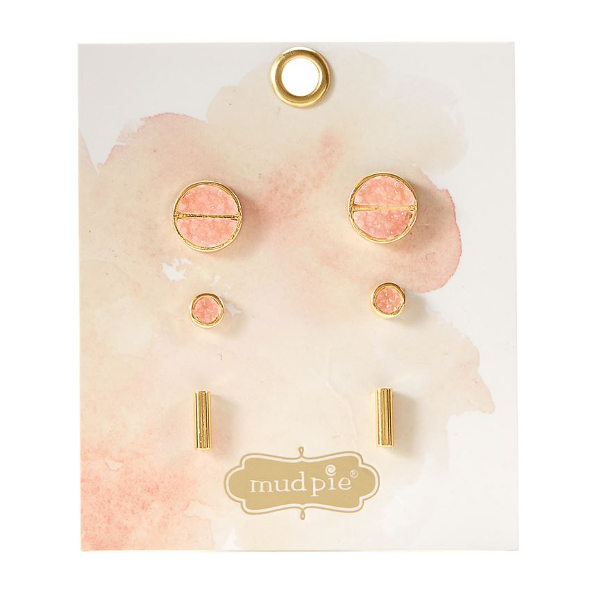 Mud Pie Druzy Stone Stud Earring Set - Blush