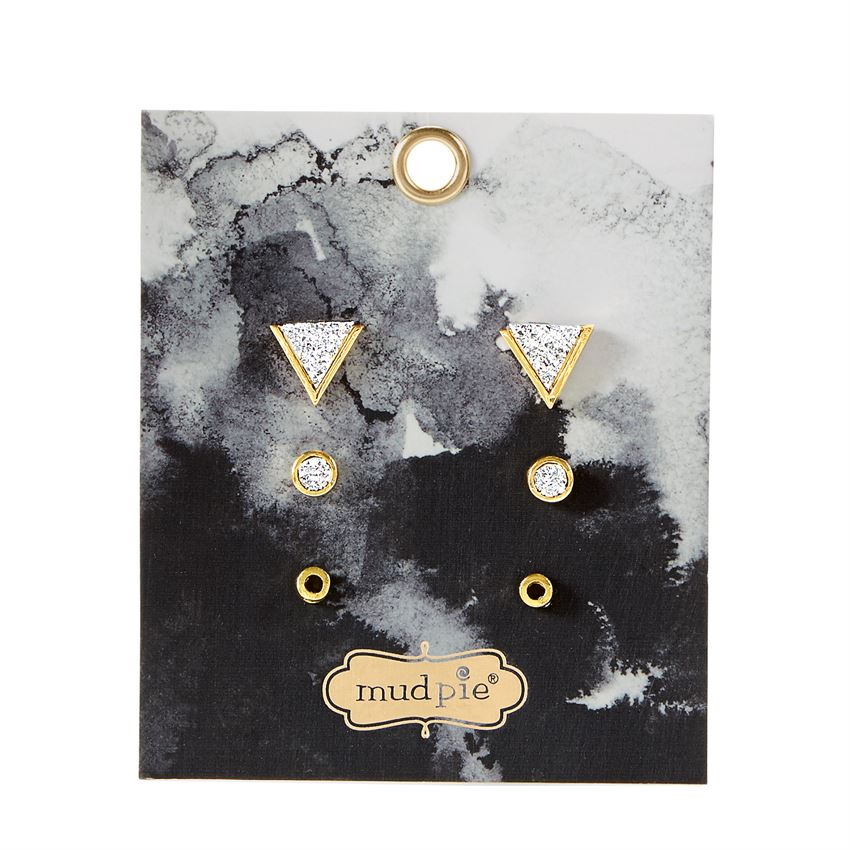 Mud Pie Druzy Stone Stud Earring Set - Silver