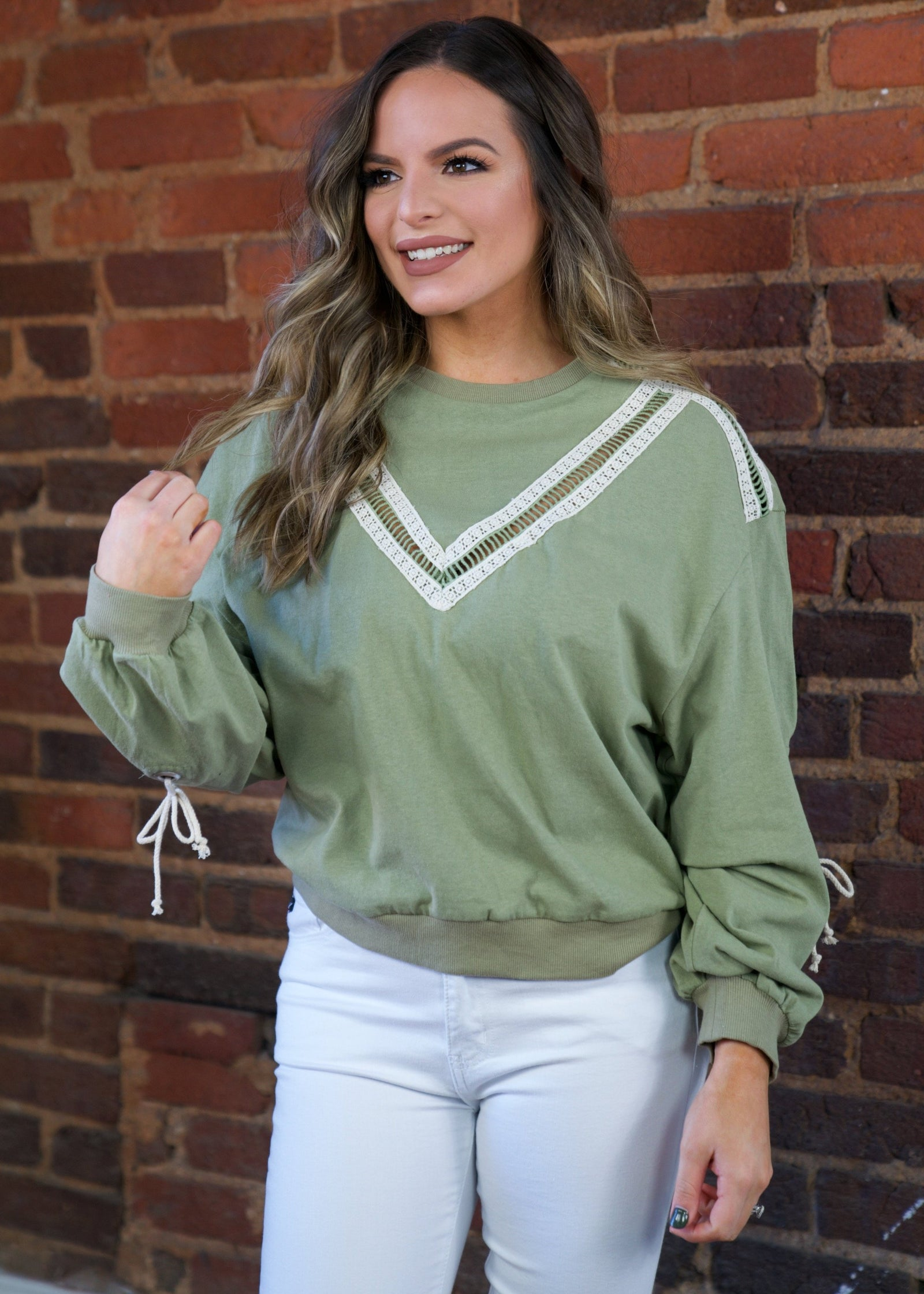 Shirred Sleeve Top - Olive