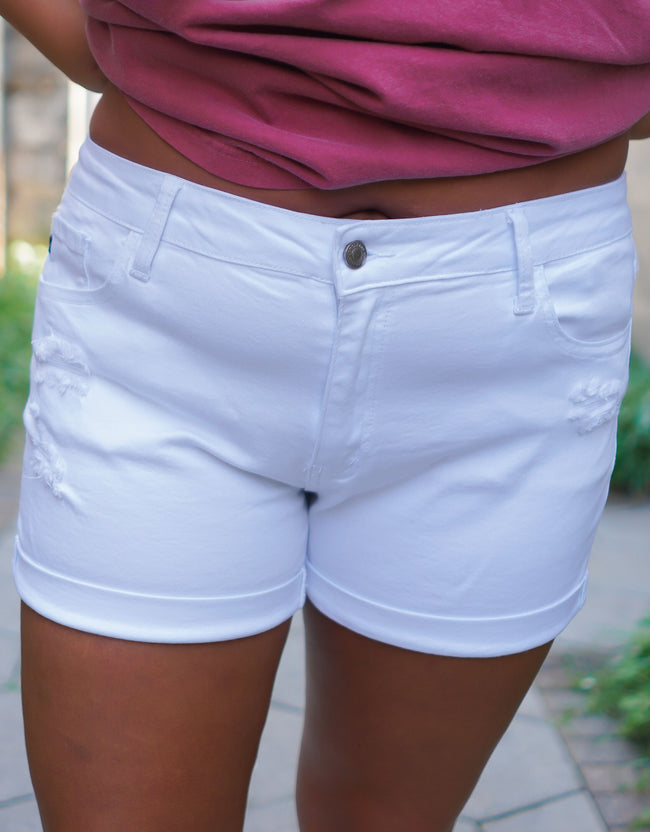 Back To Basics KanCan Shorts - White - Curvy