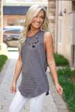 Hit My Line Distressed Tank - Charcoal