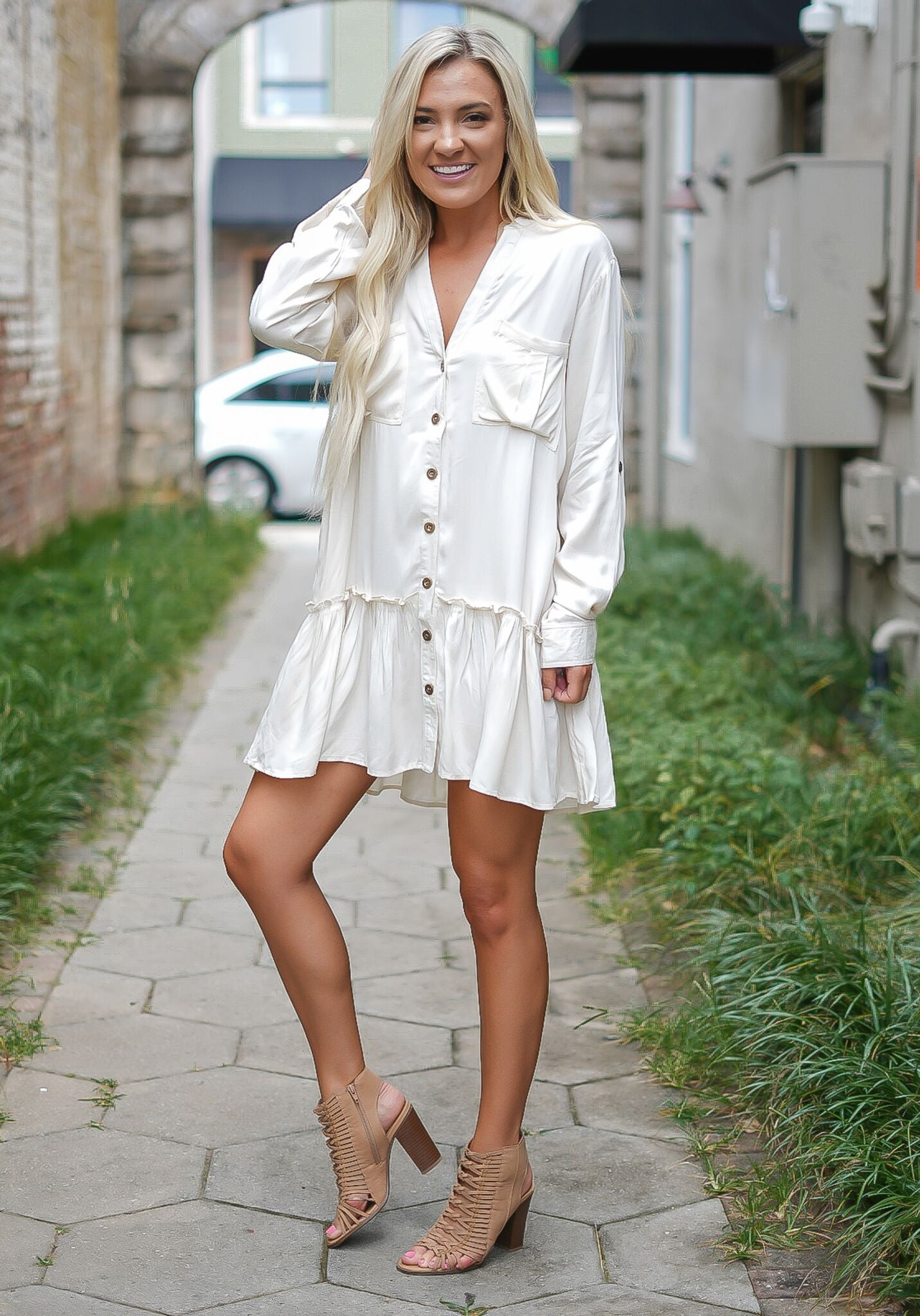 Trendy Transitions Dress - Ivory