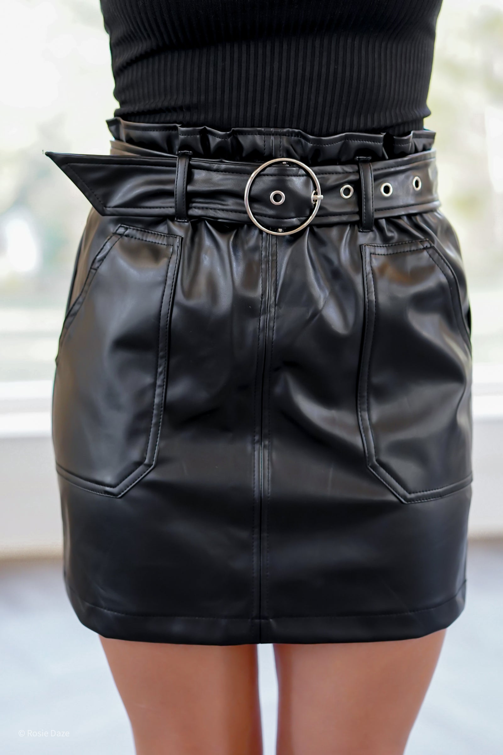 Rock Around Faux Leather Skirt