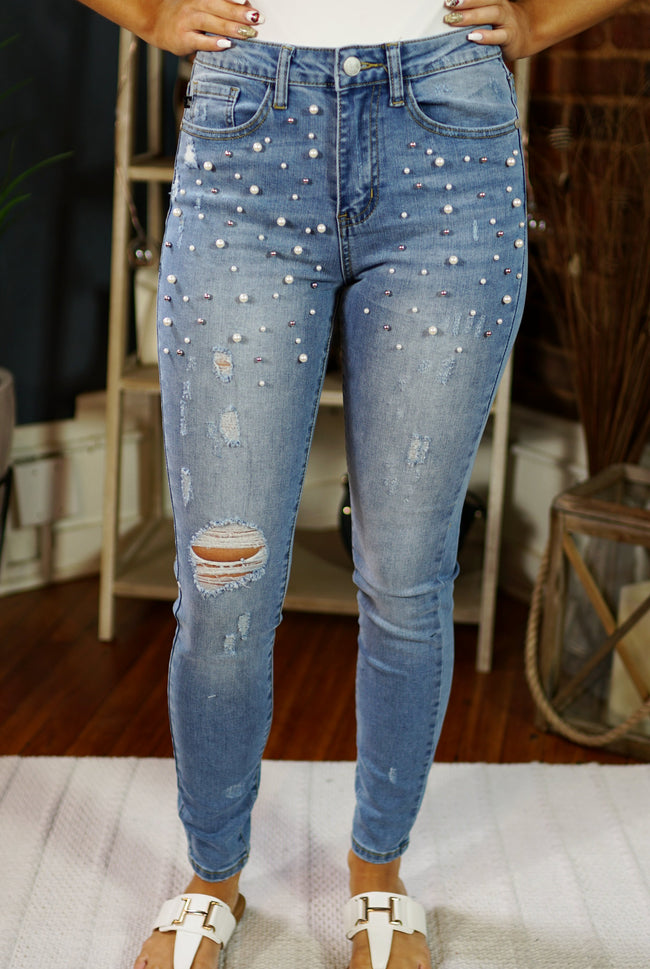 Pearl Studded High Waisted Denim