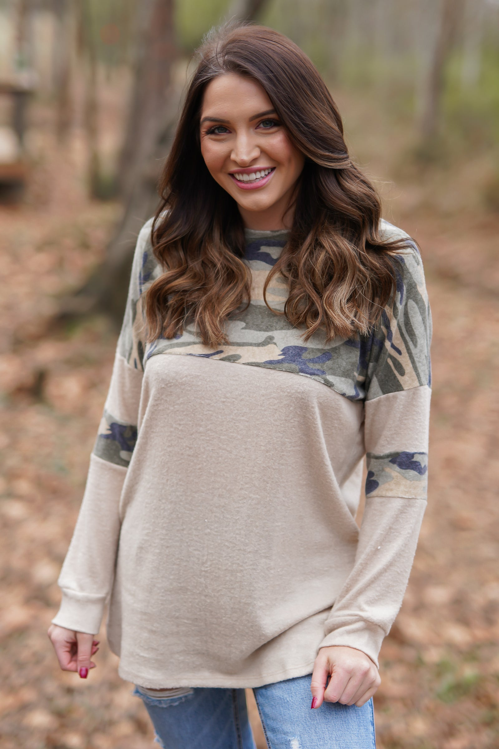 Cadet Camo Top - Oatmeal