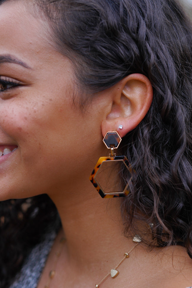 Tortoise Hexagon Earrings - Tan