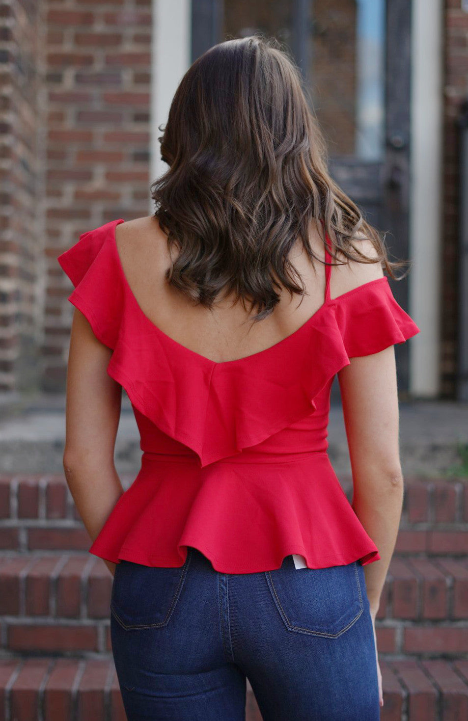 Red Hot Ruffle Peplum Top
