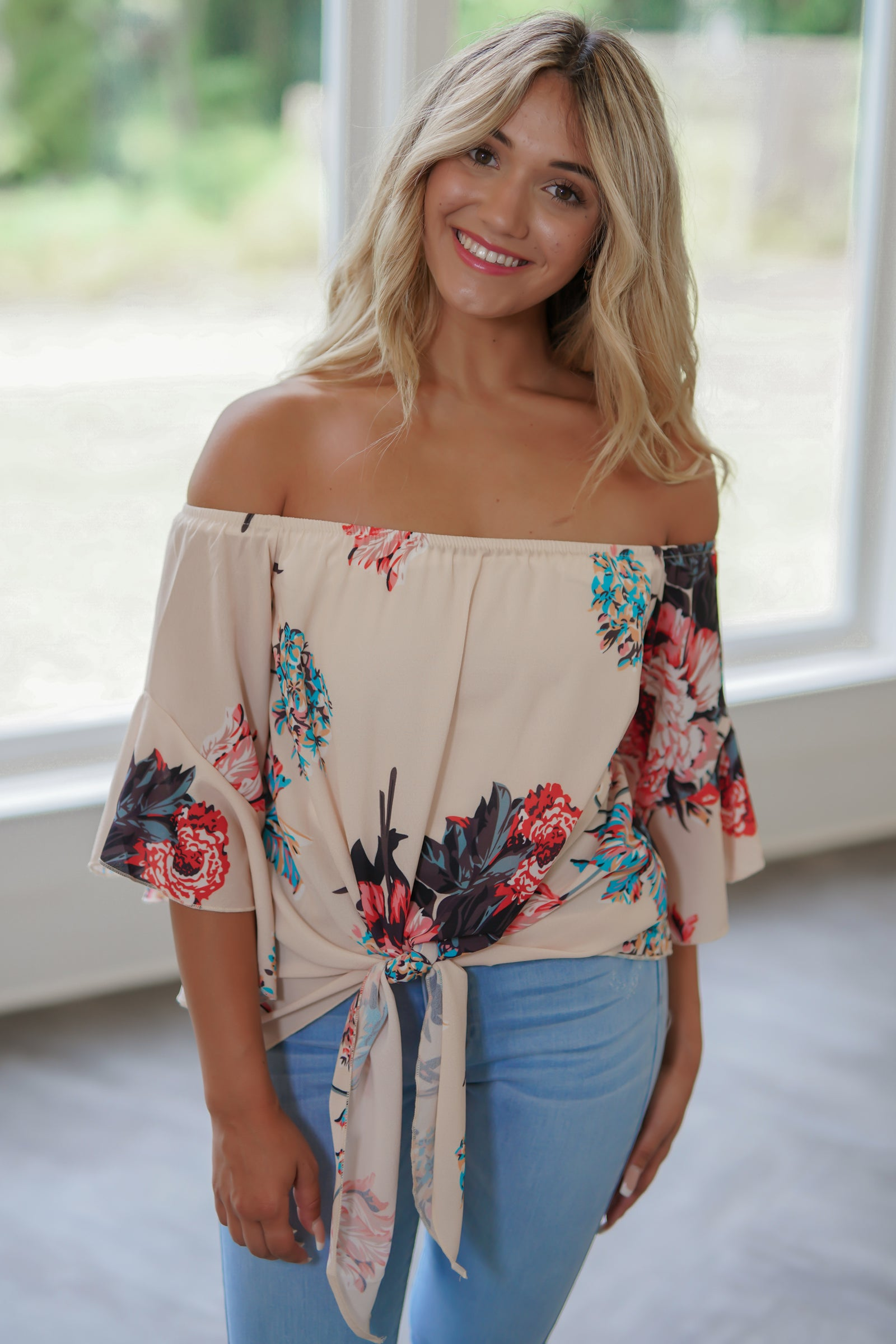 Full Bloom Tie Top