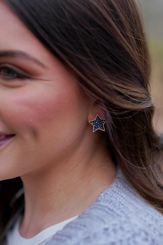 Mud Pie Druzy Stone Stud Earring Set - Black