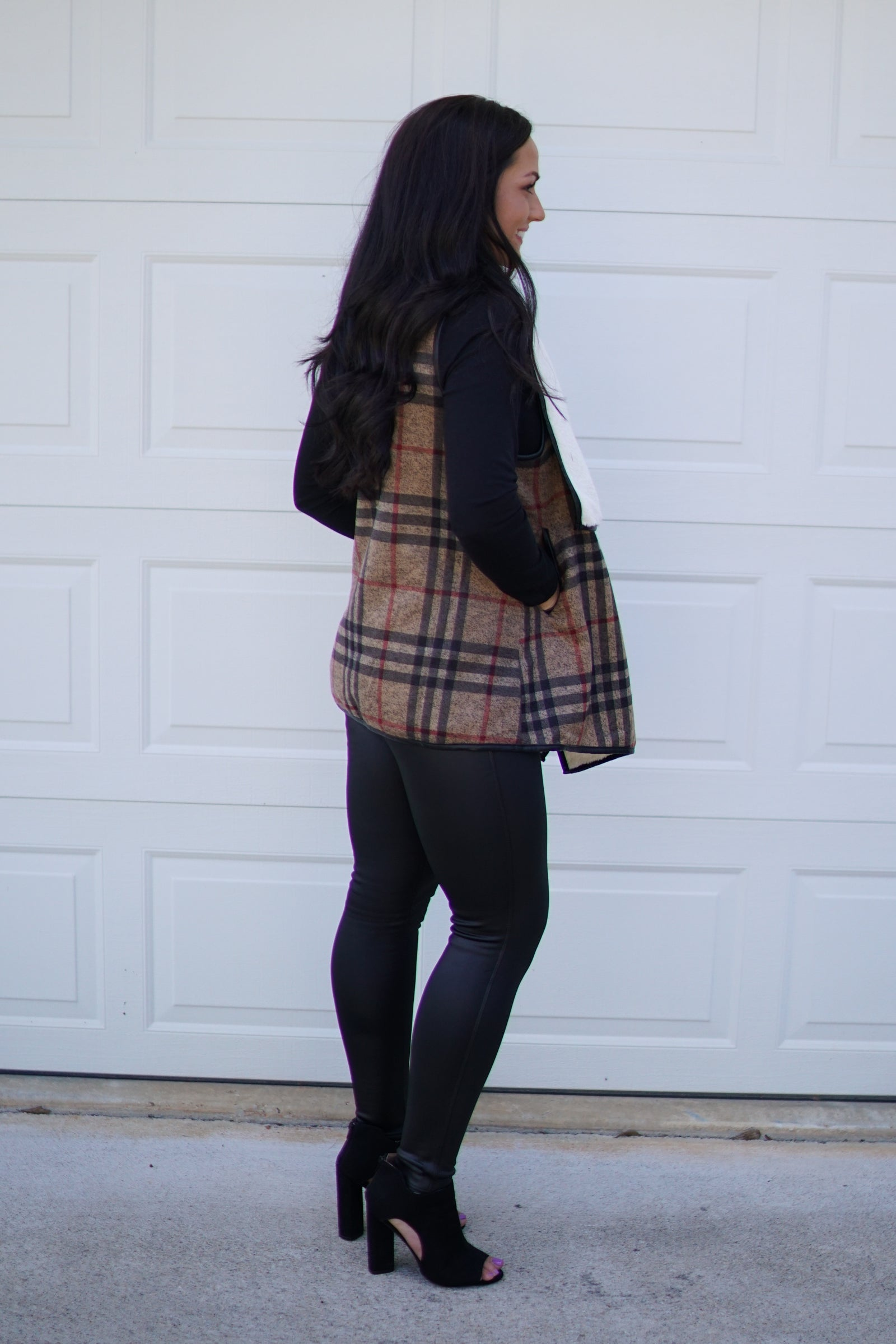 Brown Plaid Vest