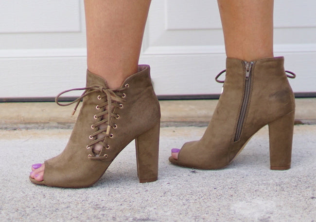 Olive Lace Up Bootie