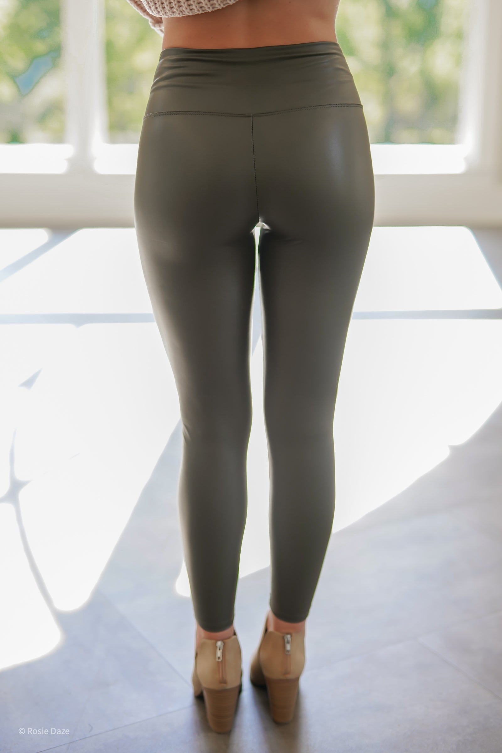Infatuated Faux Leather Leggings - Olive