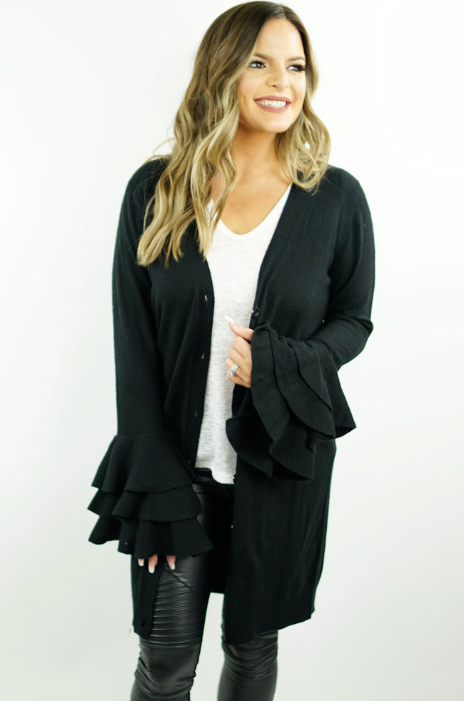 Ruffle Sleeve Cardigan - Black