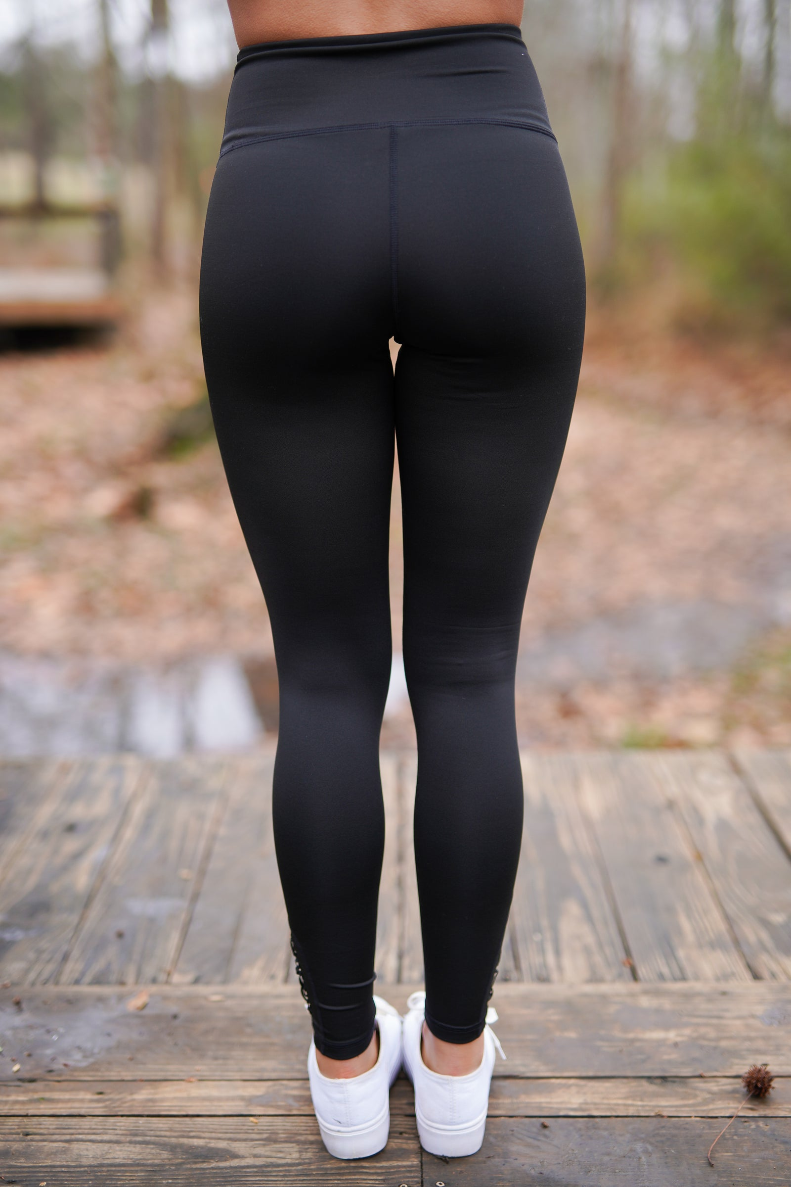 Laser Cut Leggings - Black