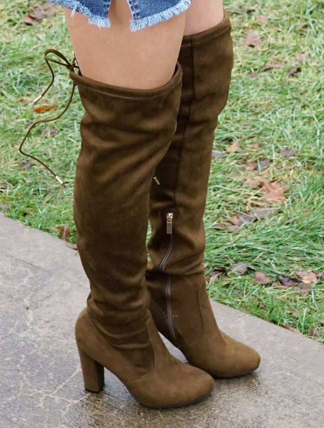 Olive Green Over The Knee Boots