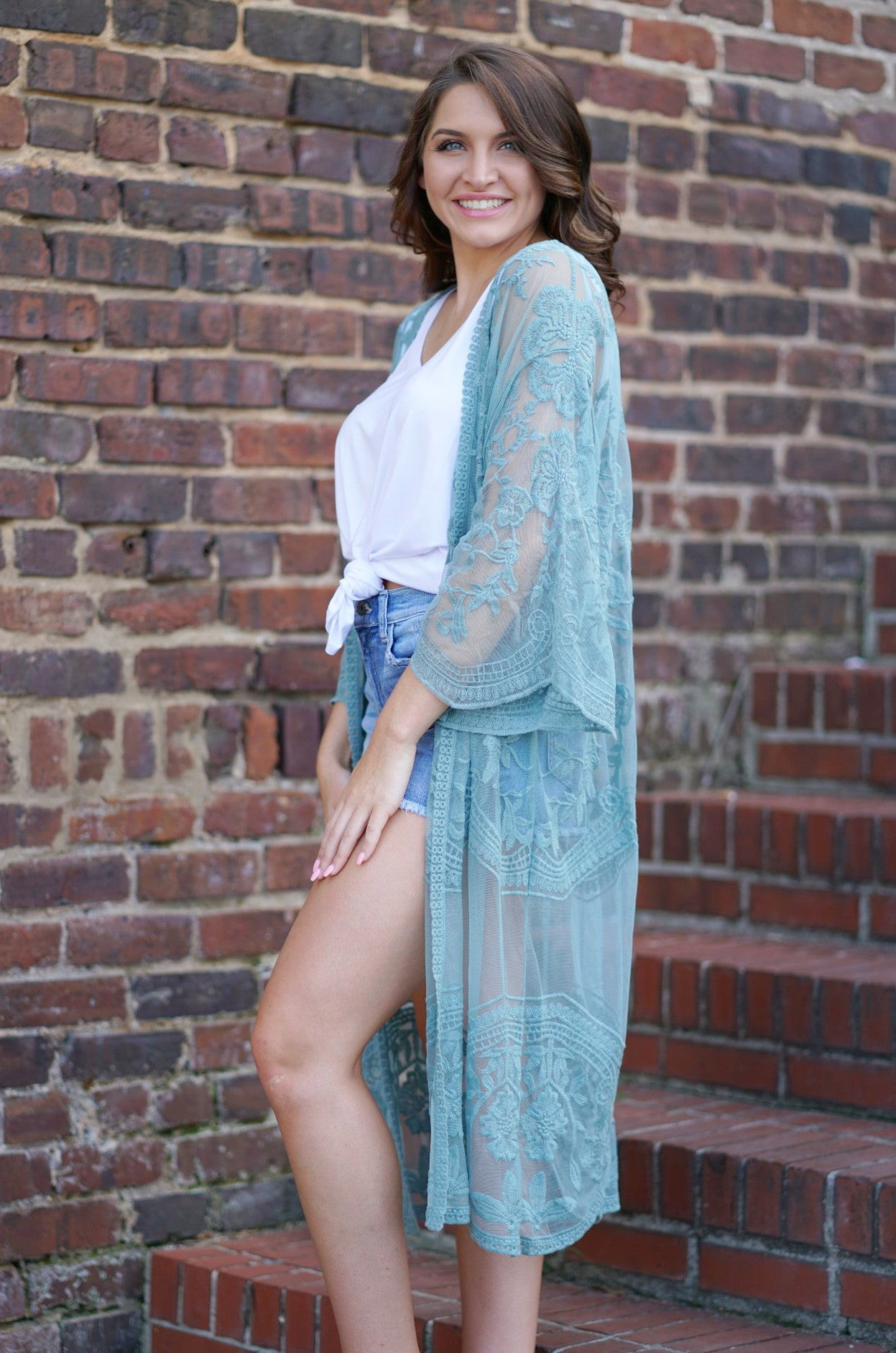 Crazy for You Cardigan - Dusty Teal