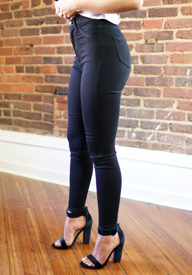 Black High Waisted Denim - Kan Cans