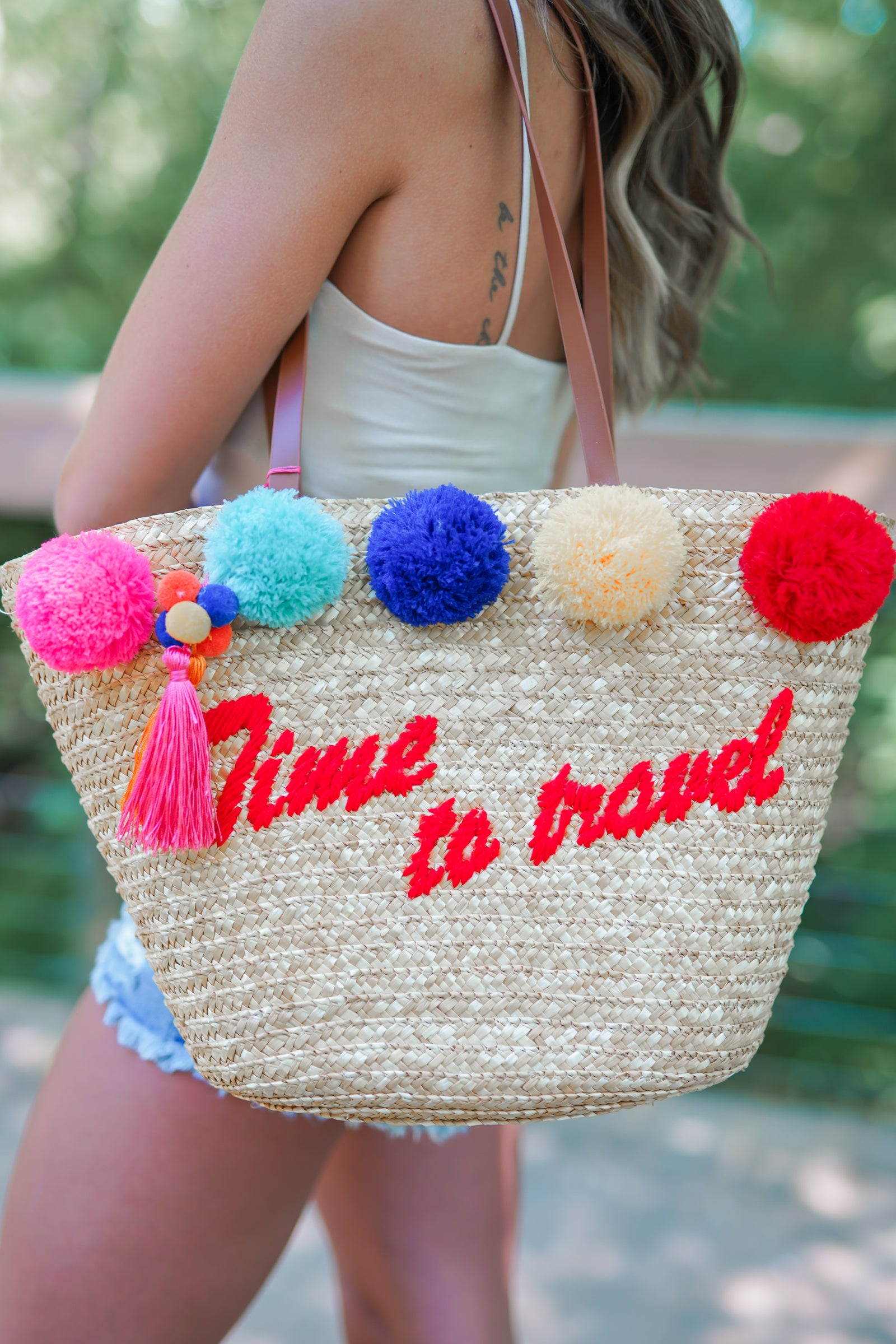 Time to Travel Straw Bag