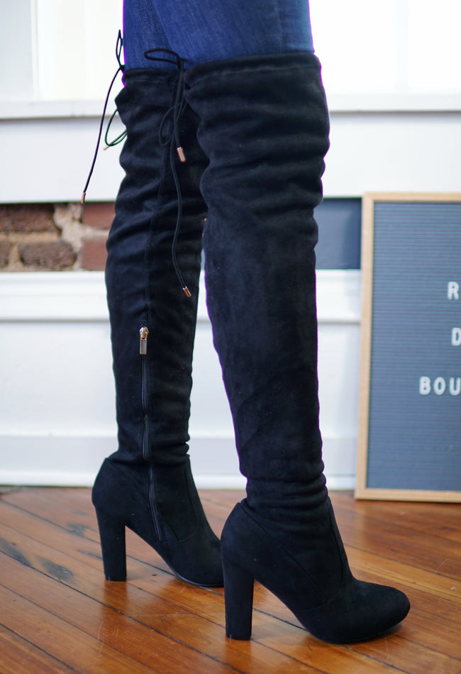 Faux Suede Thigh High Boots - Black
