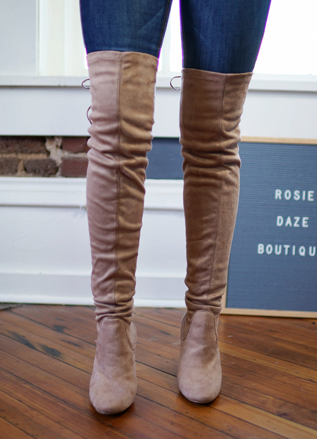 Faux Suede Thigh High Boots - Taupe