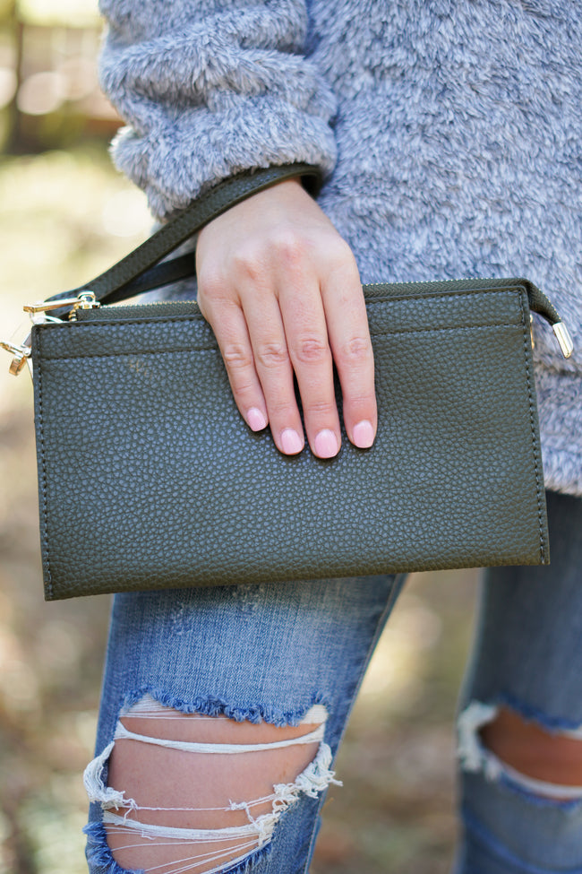 Blush Envelope Clutch - Olive