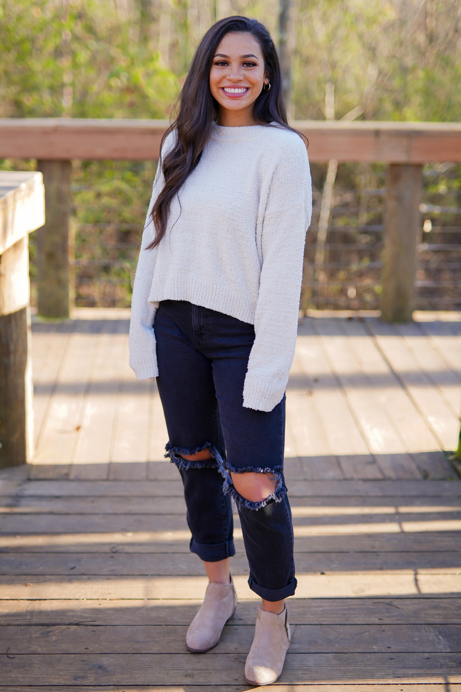 Cloud Cropped Sweater - Cream