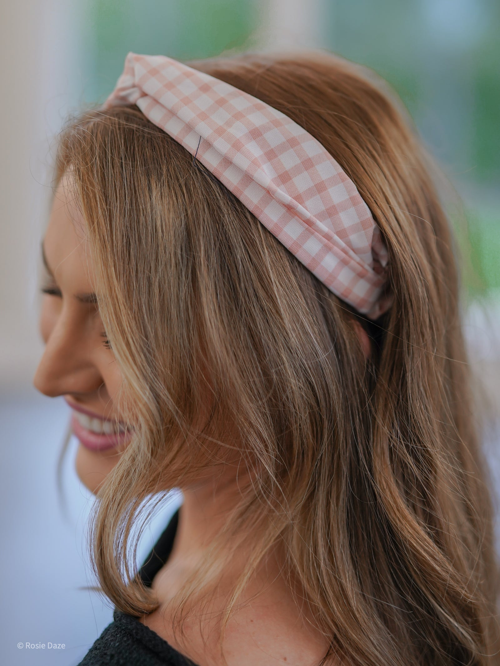 Hey, Baby Headband - Pink Gingham