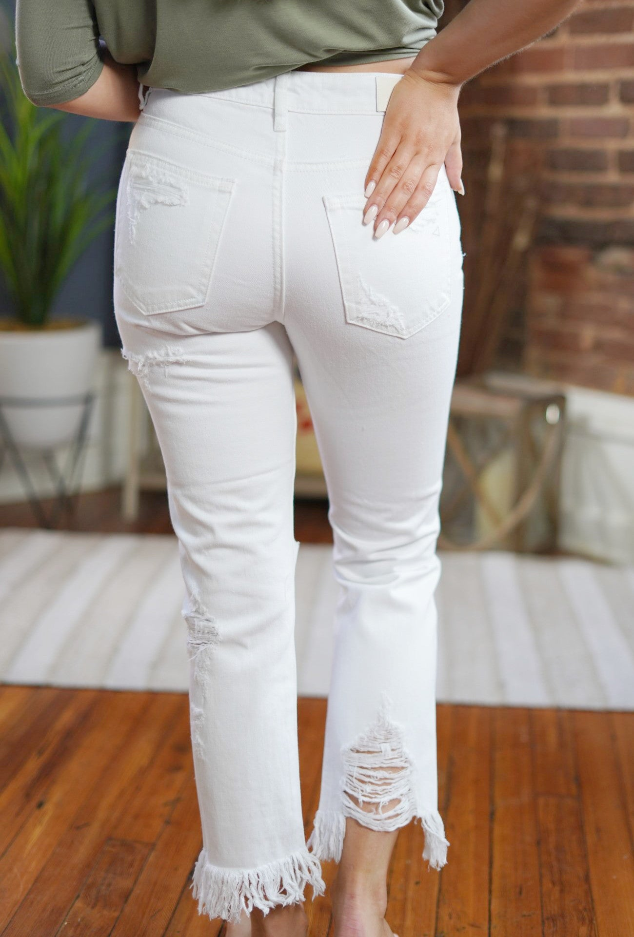 Zoey White Distressed Denim