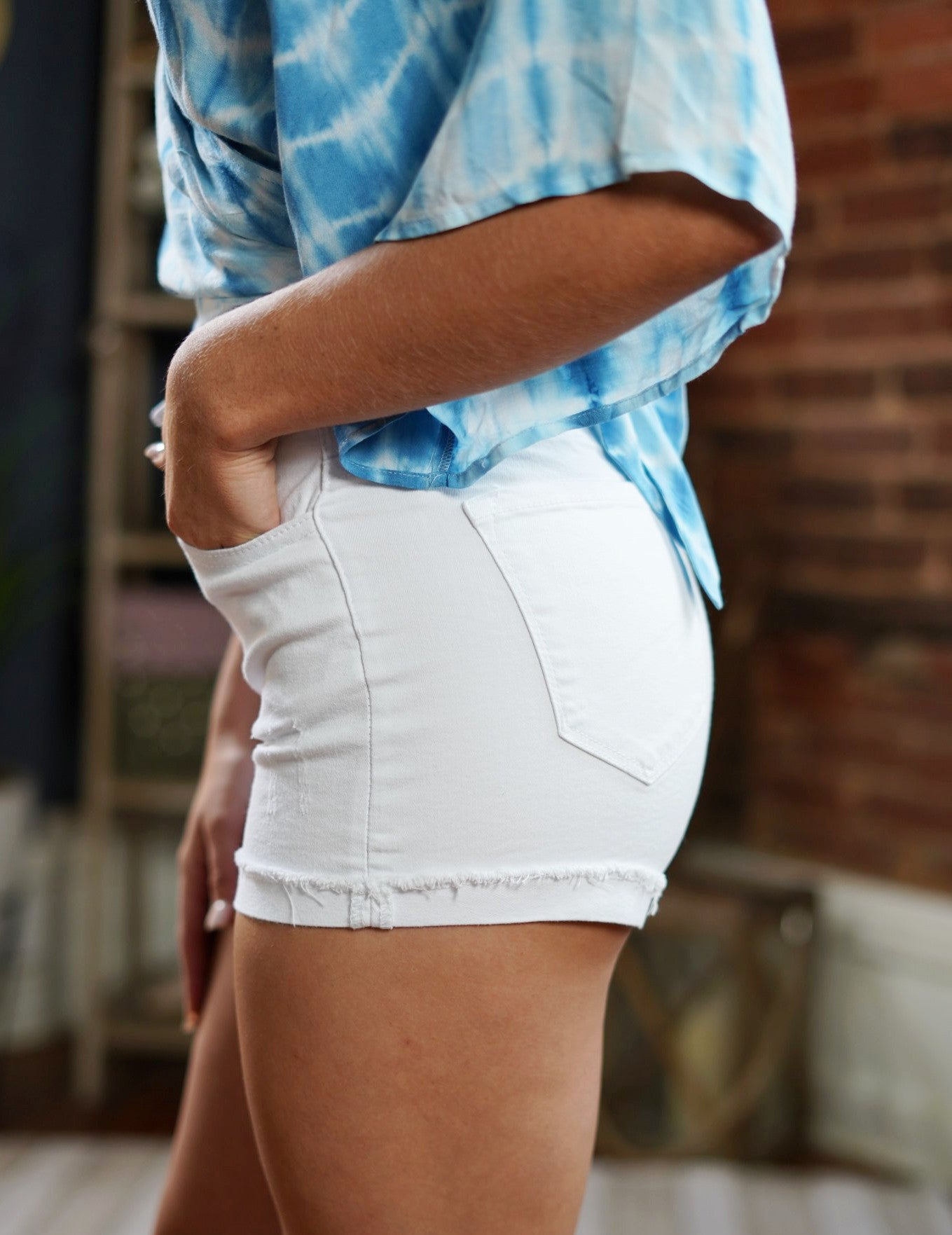 White High Waisted Kan Can Shorts