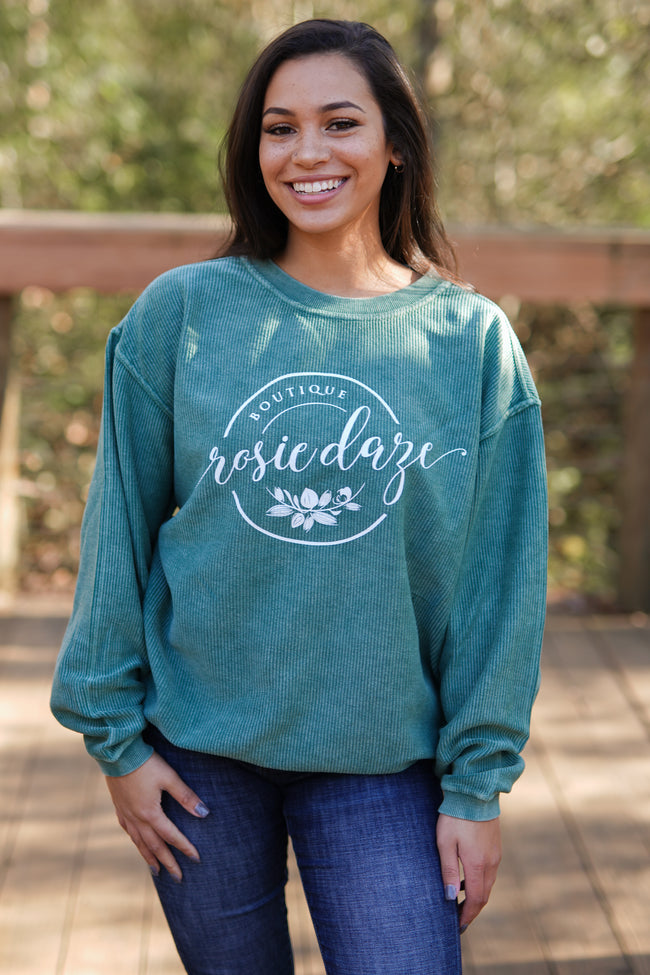 Rosie Daze Corded Crew - Green