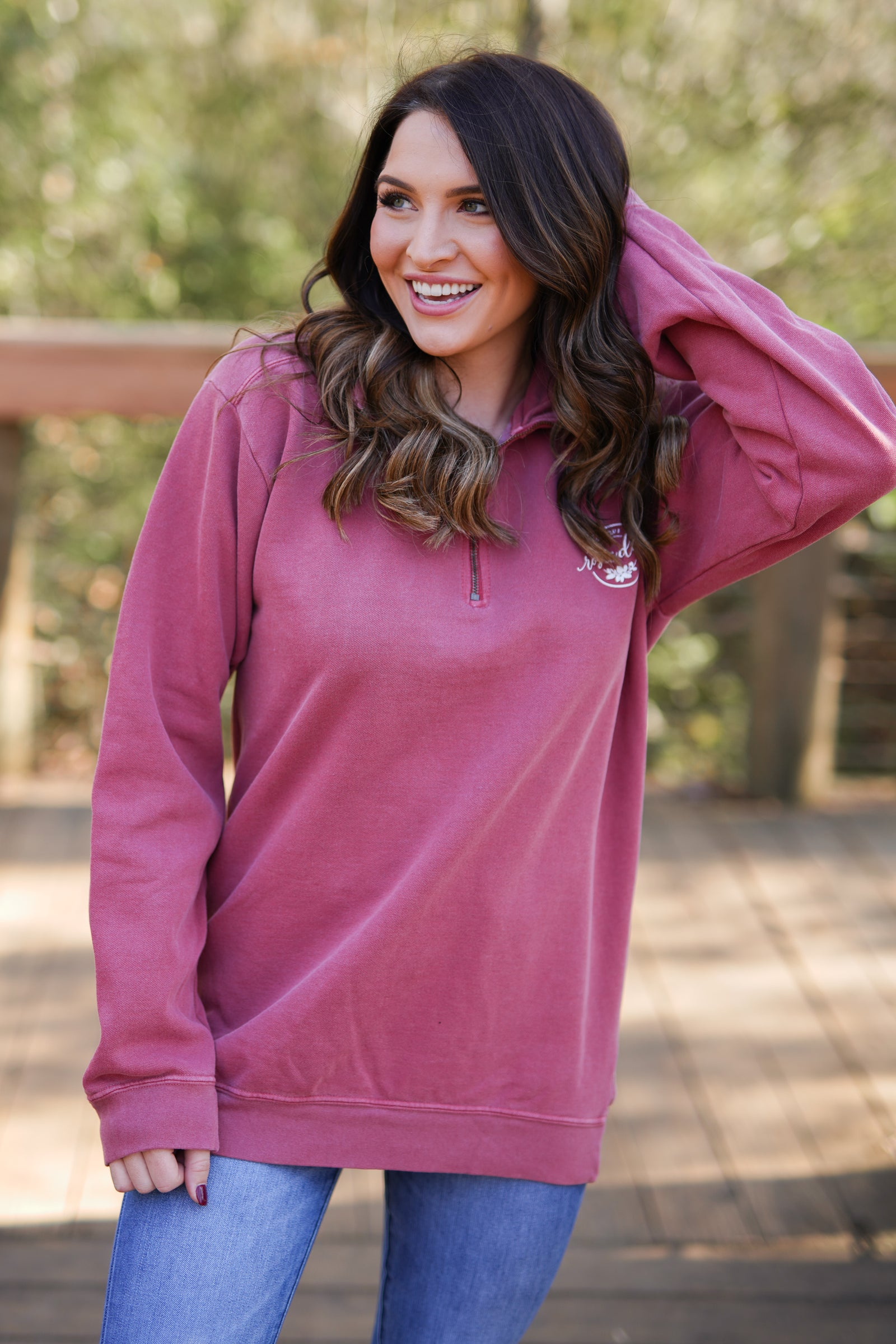 Rosie Daze Quarter Zip - Crimson