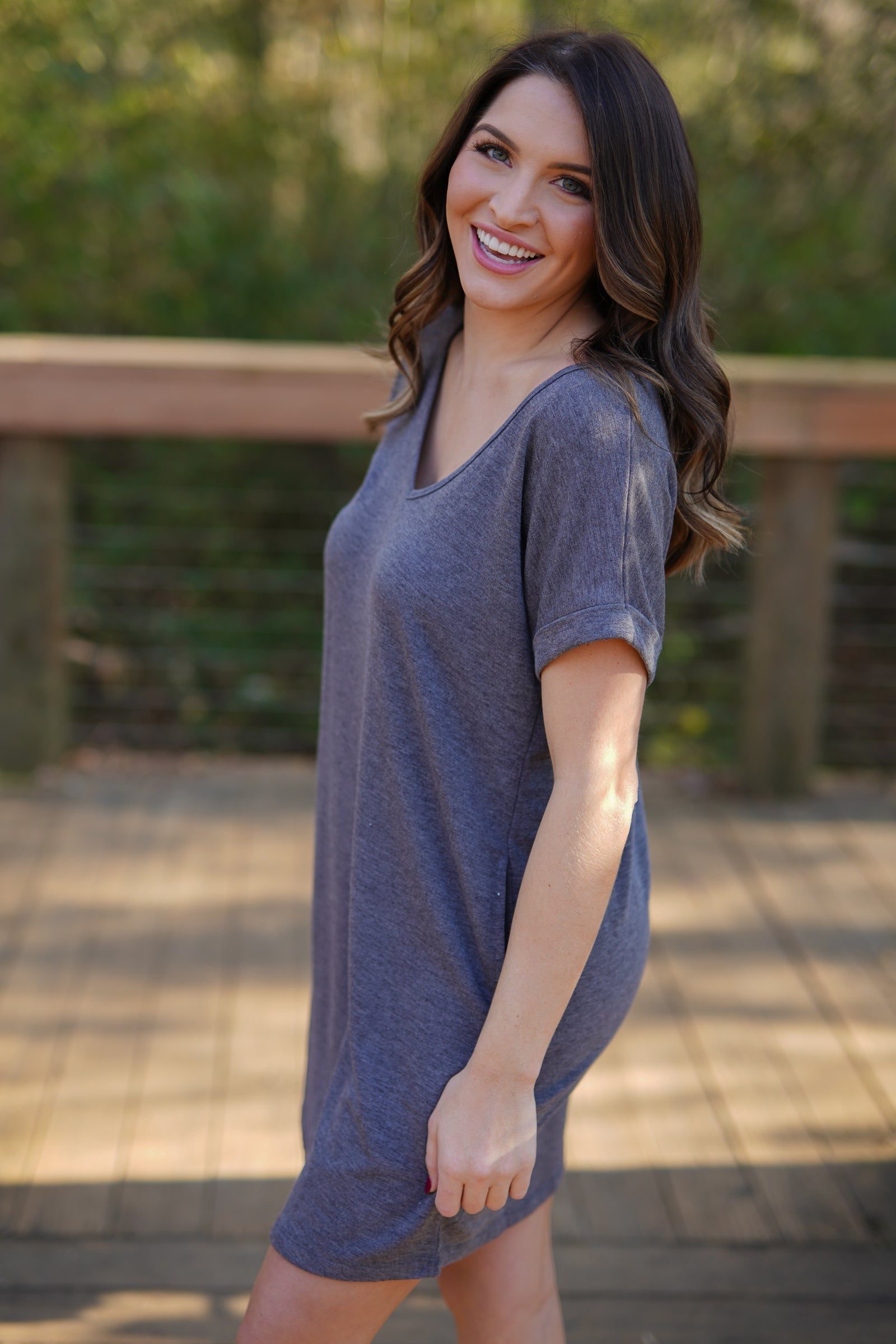 Cherish T-Shirt Dress - Charcoal