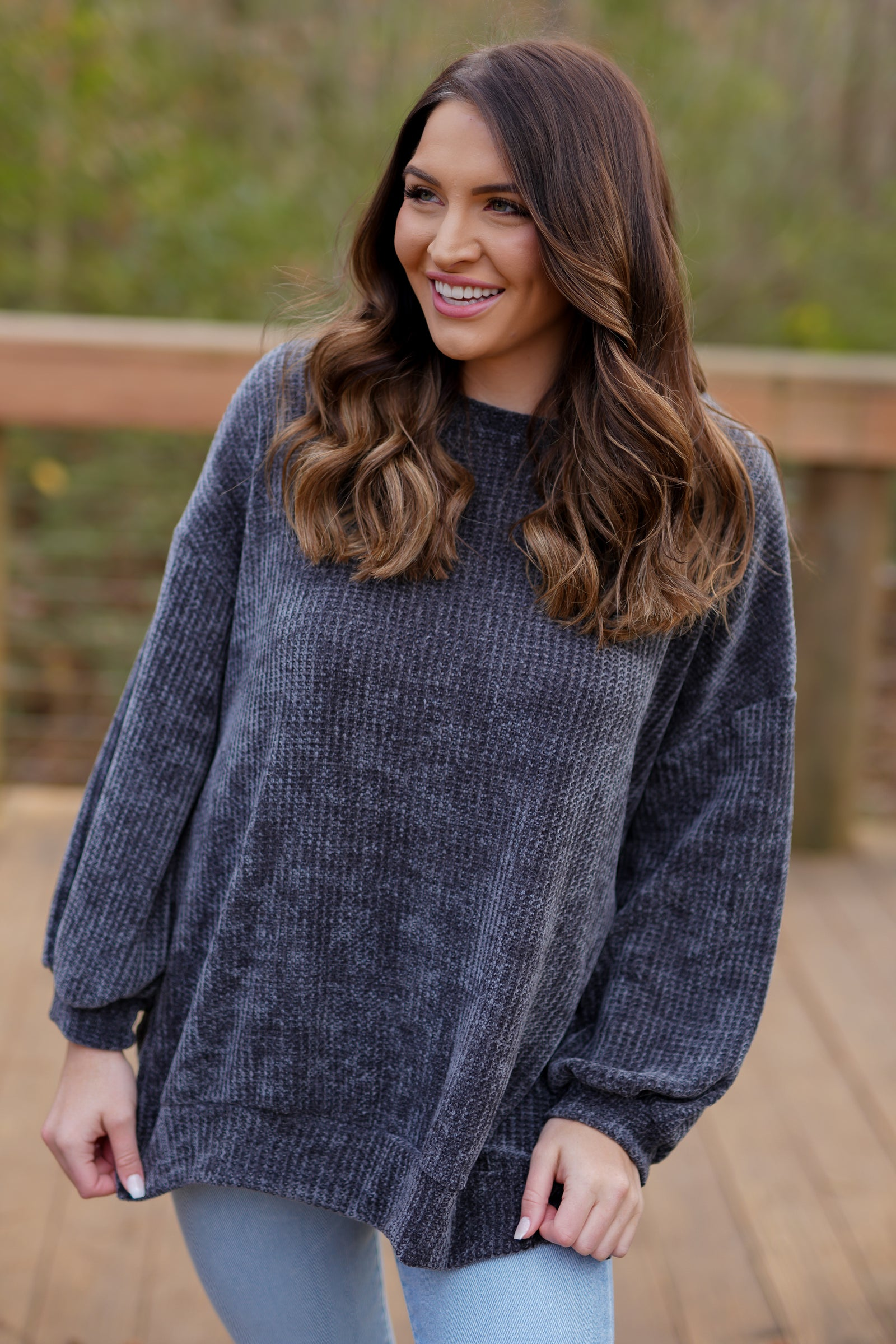 First Love Chenille Top - Charcoal