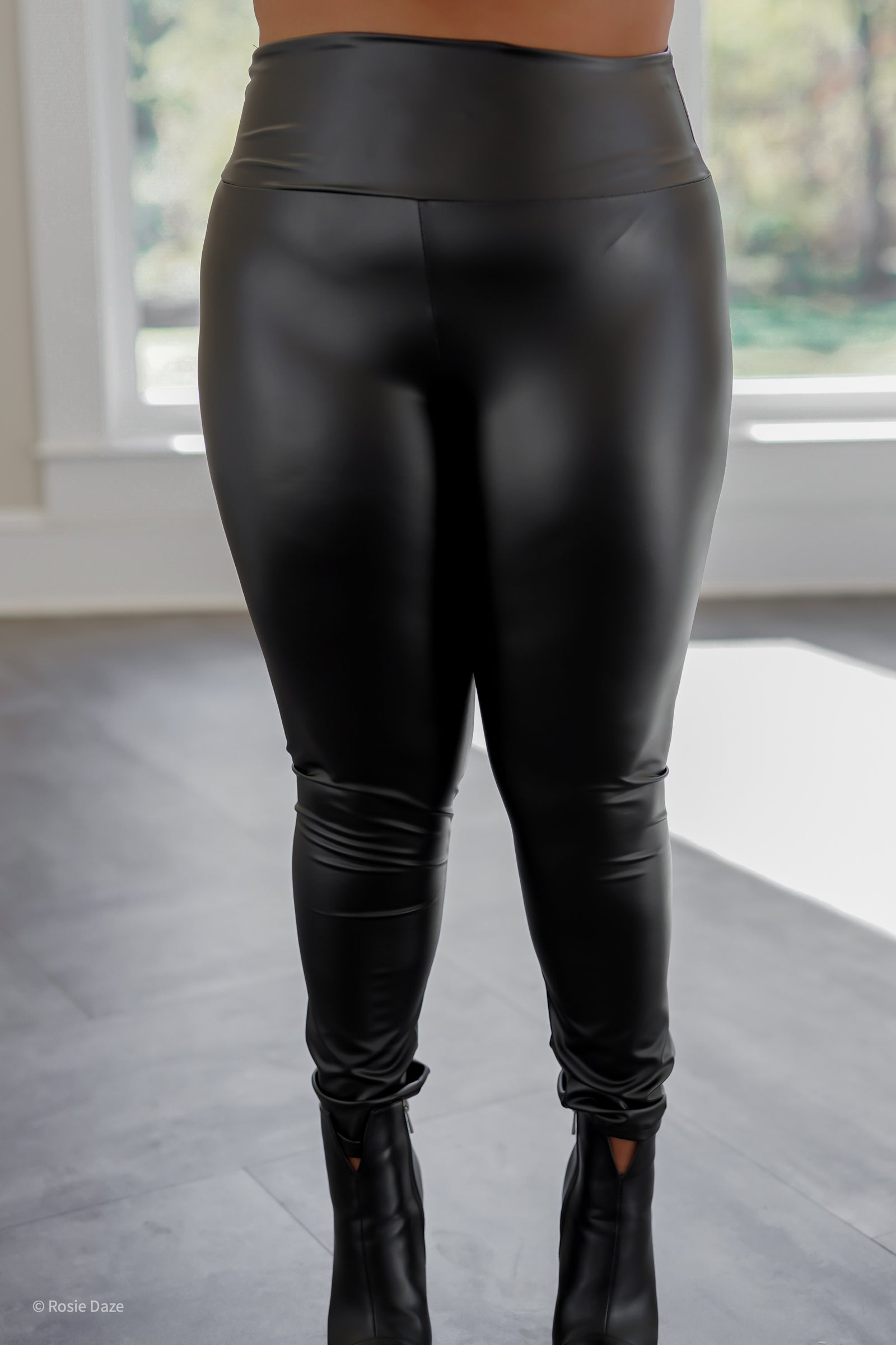 Infatuated Faux Leather Leggings - Curvy