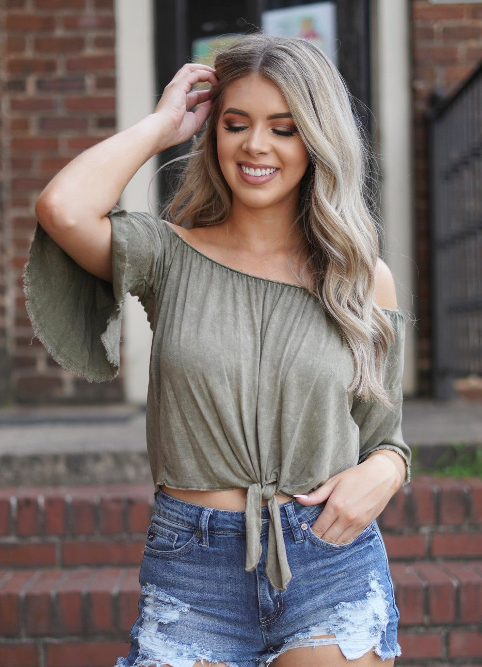 Brooklyn Knot Top - Olive