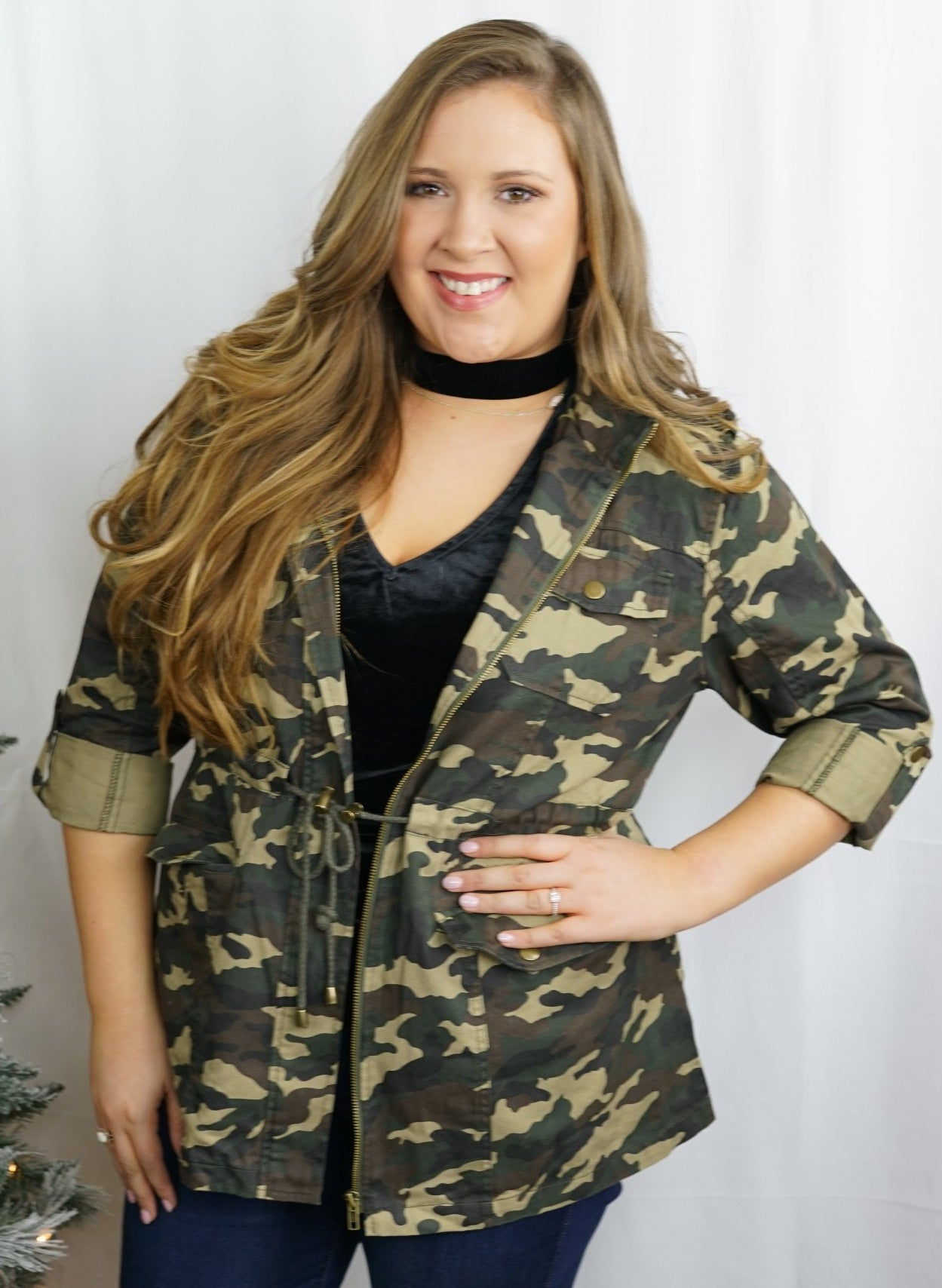 Camo Zip Up Jacket - Plus