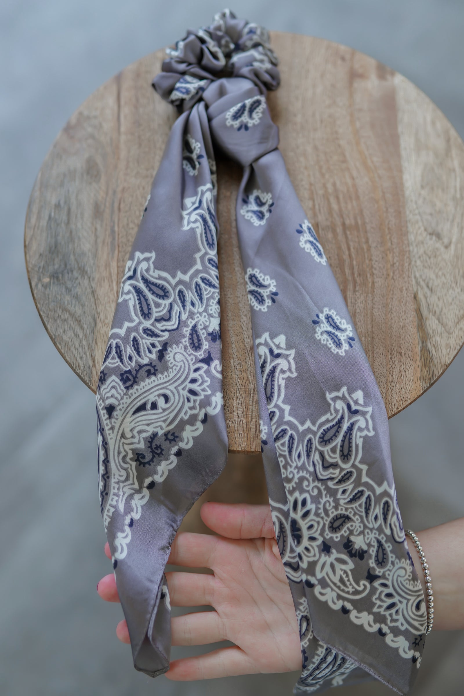Grey Paisley Scrunchie Scarf - Hotline Hairties