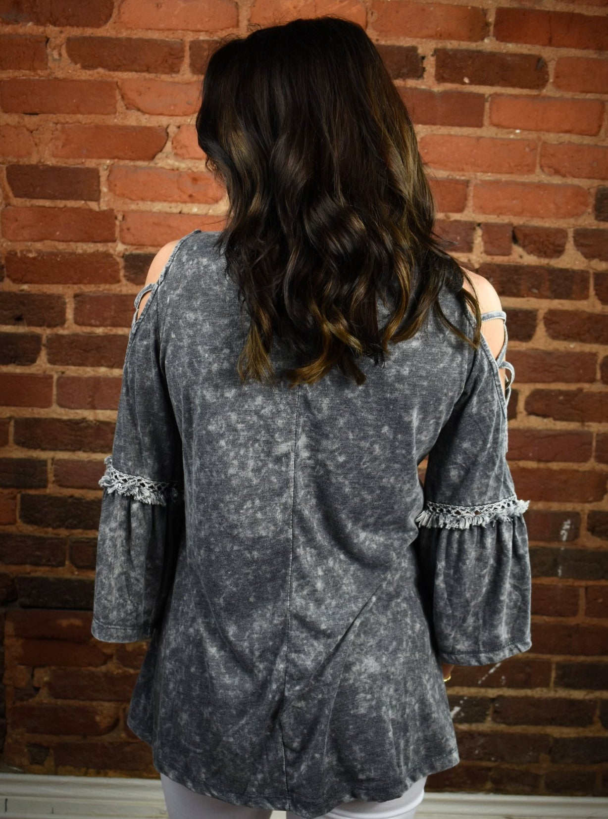 Acid Wash Bell Sleeve Top