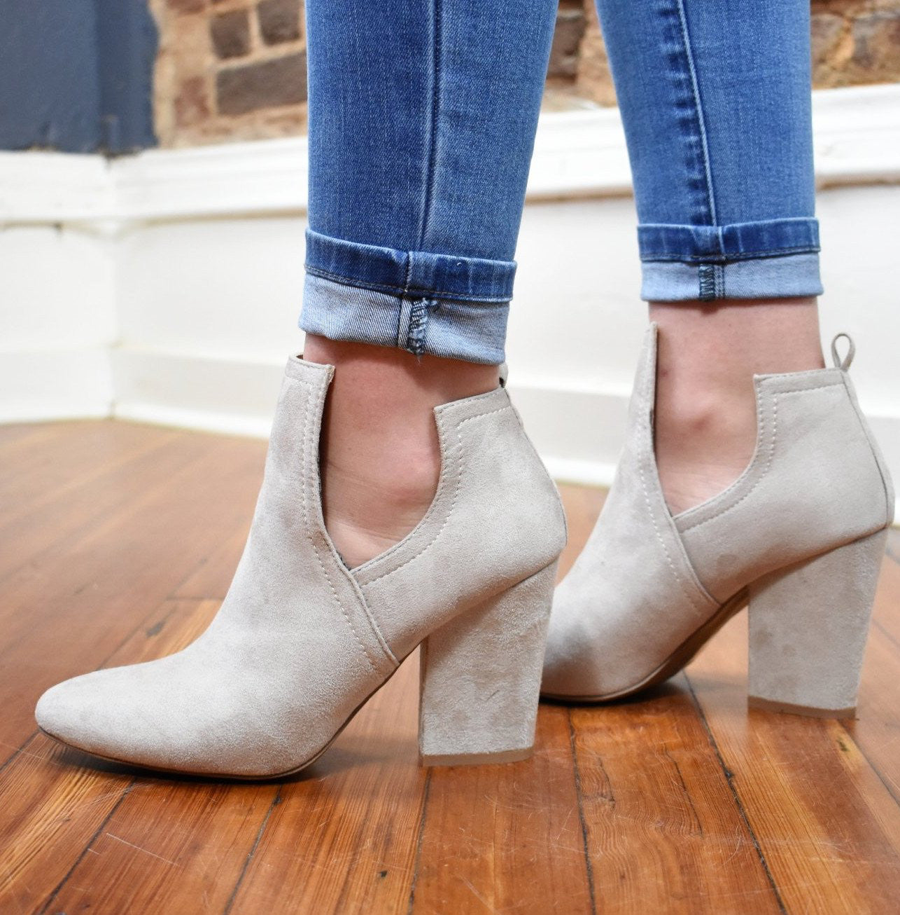 Faux Suede Cut Out Booties - Oatmeal